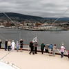 Cruise ship approaching Hobart Port, Australia.
