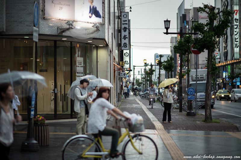 asahikawa Kaimono Koen - cycling on the main streets