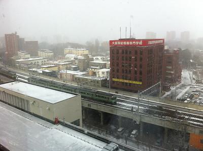 第三日的酒店窗景,落雪了~