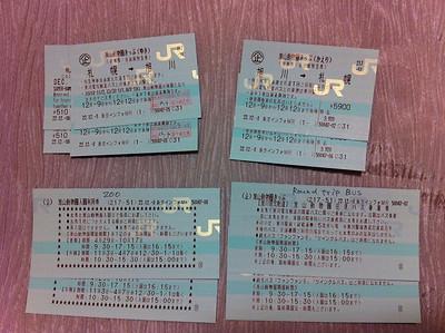 第二日,旭山動物園的車票同入場票