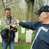 Reichwald Forest Cemetery - giving the replica Distinguished Flying Cross to Mitch, our guide
