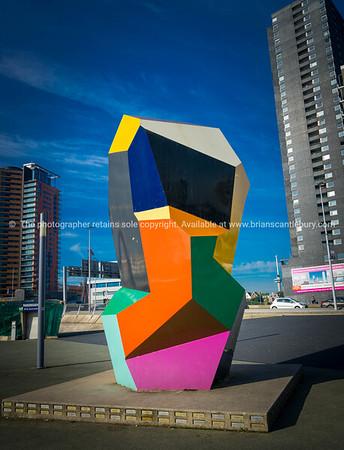 Multi-colored sculpture cubic sculpture in Erasmuburg district