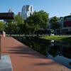Public art sculpture along walkway on Westersingel Canal
