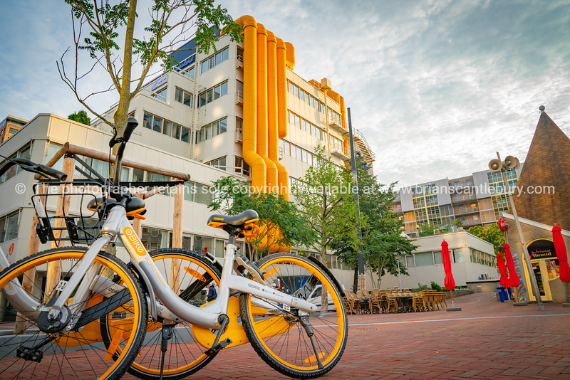 Two yellow and white share bikes leaning against tree in front of city library building with bright yellow external air-conditioning ducts.