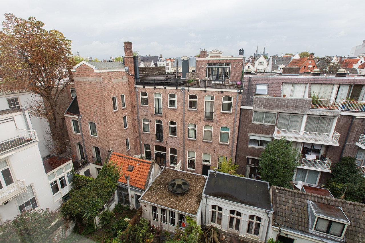 A view from the back of our apartment on Prinsengracht. The view was roughly North, and rather than overlooking a canal, we had a view of the gardens below.