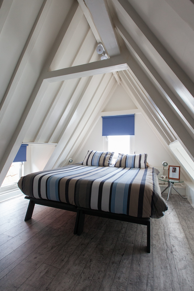 The loft bedroom in our apartment on Prinsengracht.