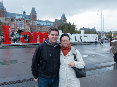 Standing in front of the Rijksmuseum.