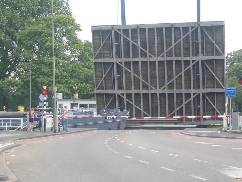 Boat crossing through a drawbridge