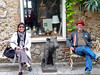 """Karen and Papa Woo with my favorite """"Chingale"""" statue outside La Locanda in Calvi dell'Umbria."""