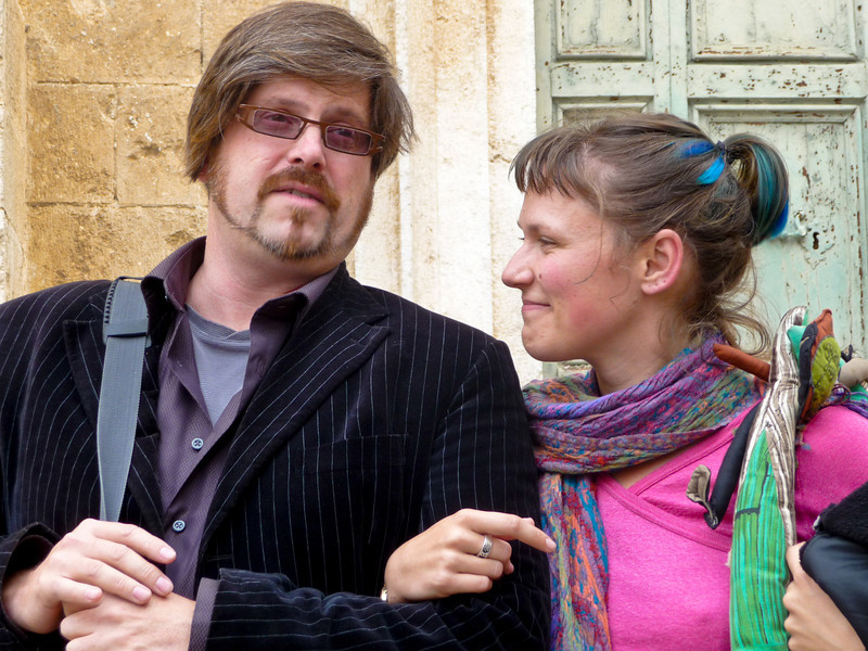 Betsy and Christopher outside of Chiesa S. Brigida before tour of the Art Monastery.