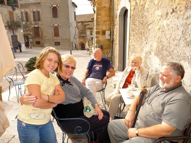 Ashley, Adele, Steve, Gail, and Steve in the Piazza in Calvi.
