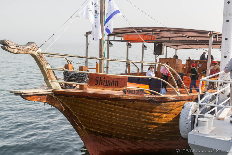 """Morning ride on the Sea of Galiliee in a """"Jesus"""" boat named """"Shimon"""" from our hotel in Tiberias to Kibbutz Ginosar, near Tabgha and Caphernaum."""