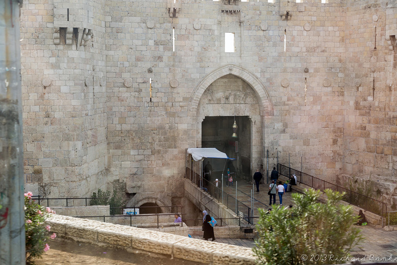 Damascus Gate.  Excavations beneath this gate unearthed a triple arched gate dating to Roman Emperor Hadrian (135 CE)