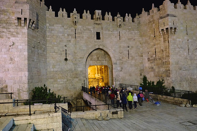 Entering the Old City of Jerusalem through the Damascus Gate.