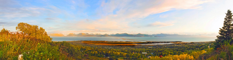 The Famous Homer Spit reaches six miles out into Kachemak Bay.  Bluewater is berthed in the yacht harbor at the very end of the spit.  you can see Nisa's tail and ear on the left.  click on the image for larger versions and to zoom in.