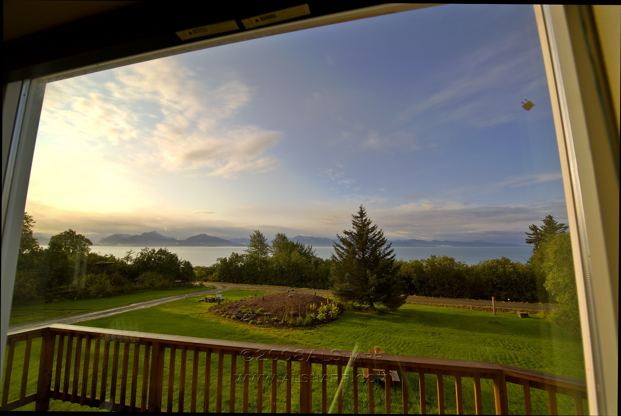 View from our rental house. looking SSE across Kachemak Bay.   9:00 AM