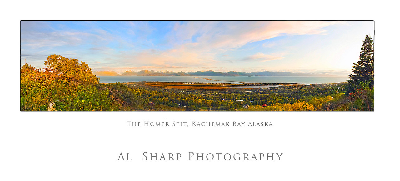 The Famous Homer Spit reaches six miles out into Kachemak Bay, Alaska an arm of the Cook Inlet. <br />  This image was shot from 1135 feet above and eight miles away from the far end end of the spit.  The tall peaks across the bay are fifteen miles away