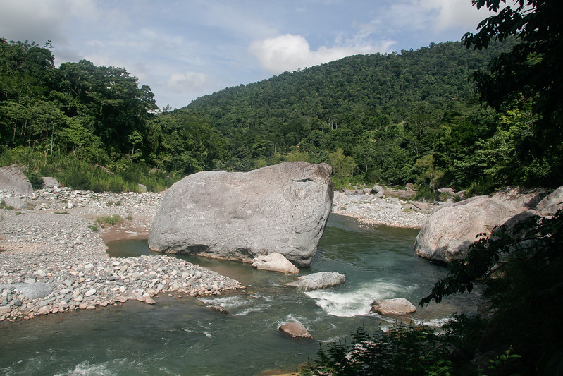 View of our put-in on the Rio Cangrejal in Pico Bonito National Park. The water level was about a foot below ideal conditions since the rainy season hadn't started yet.