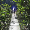 Honduras 2014:  Rio Cangrejal - Crossing the suspension bridge to go hiking in Pico Bonito N.P.