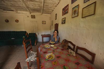Lola having lunch at Marta Suazo's home in Tatumbla, Honduras