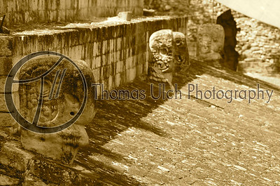 The ball court at Copan. As a former military man and, truth be told a bit of a savage, I love sites where men have proven themselves against each other. You can still feel the rawness and energy of sites like this. I felt very similar when standing in the arena at Pompei. Places like these bring out the primal nature of man. We are at our core animals and we tend to embrace that. For better or worse. Ruinas de Copan, Honduras.