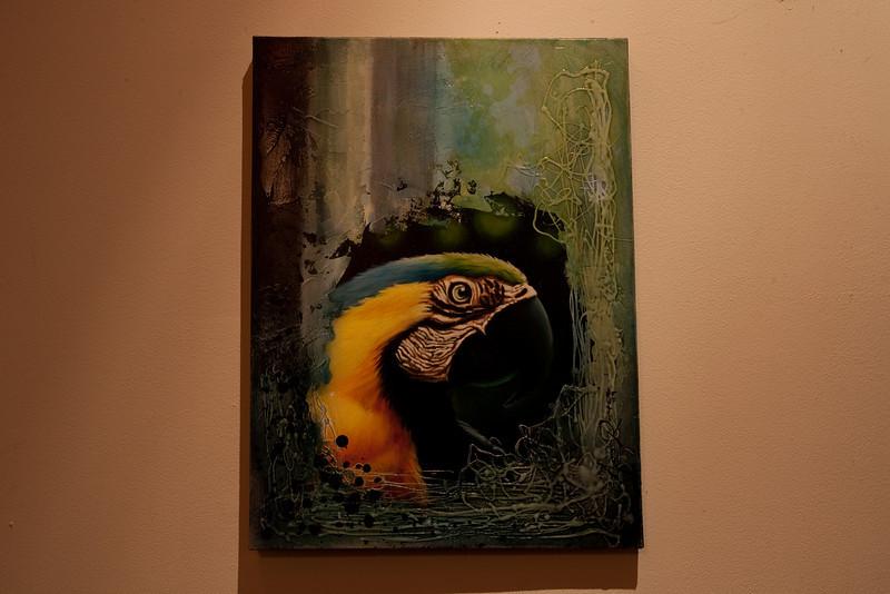 Ara ararauna artwork at the Lodge at Pico Bonito, Honduras