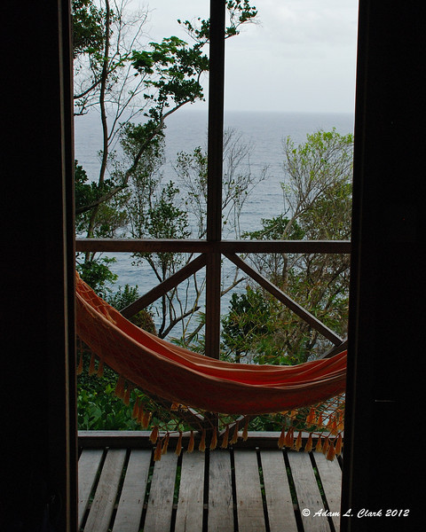 Looking out at the hammock and view from our room just after arriving