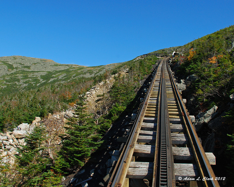 Looking up the tracks from the back of the car with Mt. Clay on the left