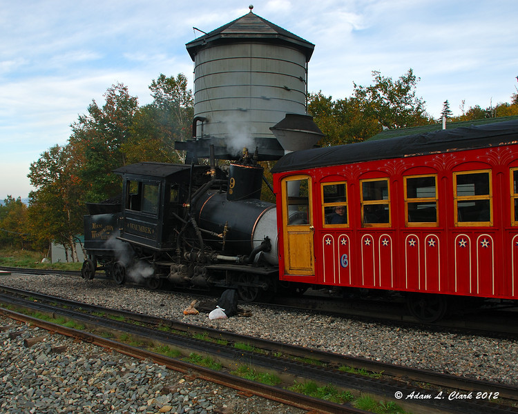 We didn't take it up, but the first train up of the day is the older steam powered cog