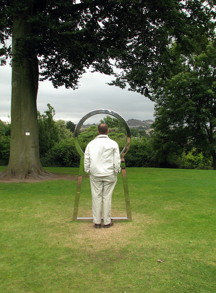 Joel contemplating the meaning of . . . the keyhole? Edinburgh Botanical Gardens