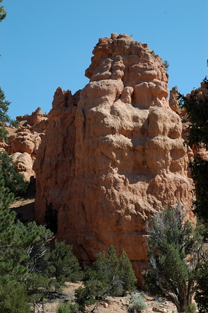 Preview of the hoodoos from the parking lot in Red Canyon.