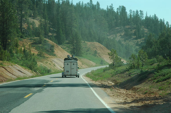 Bye bye Virgin Rim trails.  On the road, catching up with Rim Tours van.