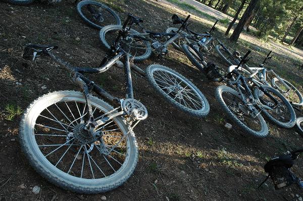 Bikes back at camp.