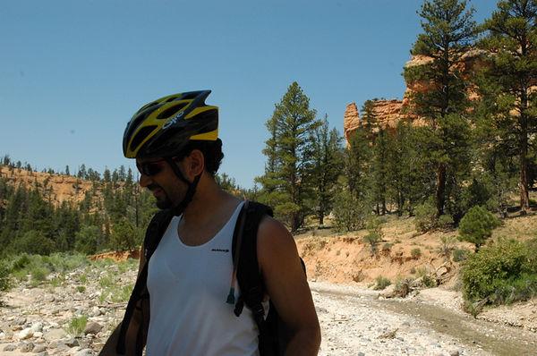 Mikail on atv trails heading up Casto Canyon.