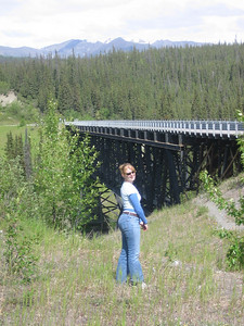 A one lane bridge on the road to McCarthy. Built in 1910 and we drove across it. Scary!