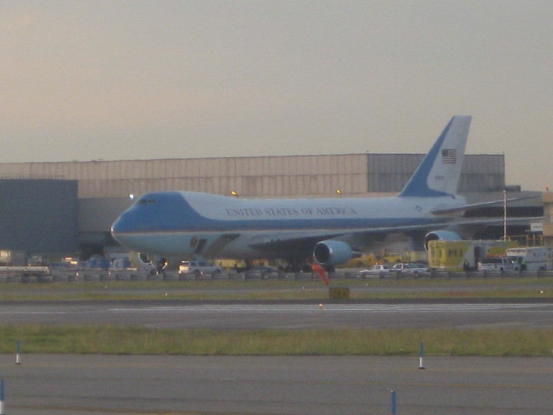 CH: Obama was visiting NY the day we landed. I was looking around outside our plane during the taxi and saw Air Force 1.