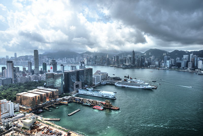 Panoramic Hong Kong Skyline as seen from Kowloon.