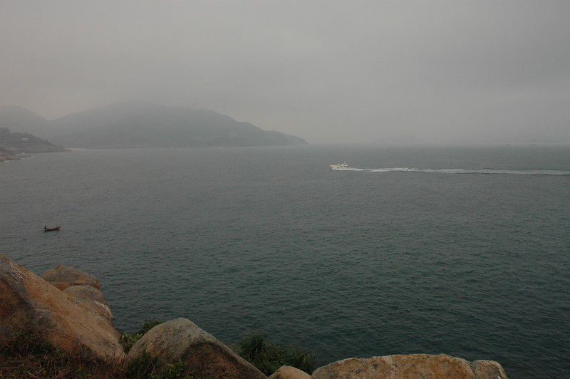 Shek O view, speedboat and fishing boat