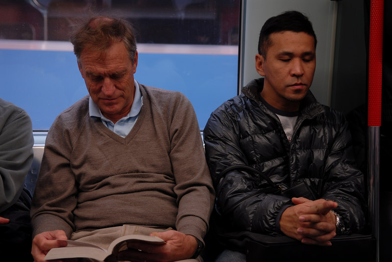 John Randerson doing some reading on the train.  He and his wife Sonja came to help teach the prophets.