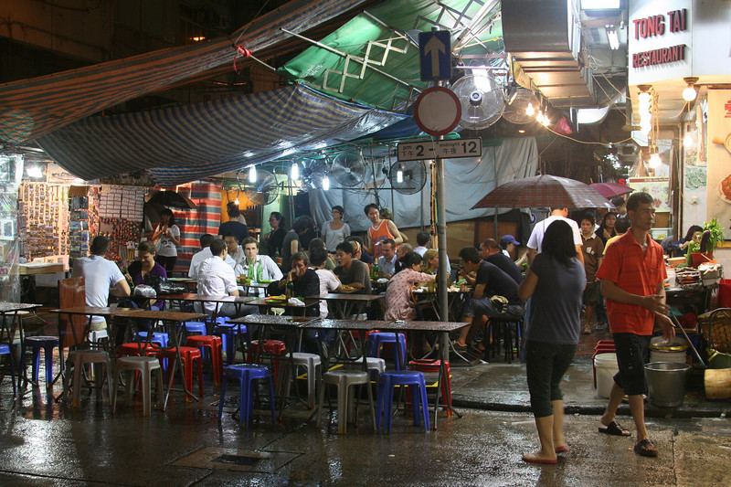 The effects of tropical storm Nangka hit Hong Kong, making for a soggy meal.