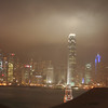 View from Kowloon to Hong Kong on a misty, soon to be very rainy night.