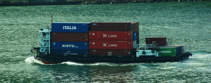 Container transfer barge in the Rammbler Channel