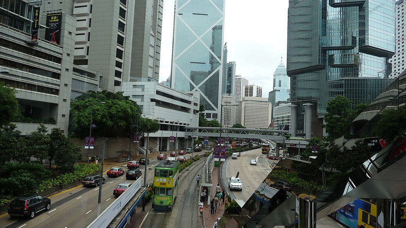 Looking along Queensway towards the Bank of China