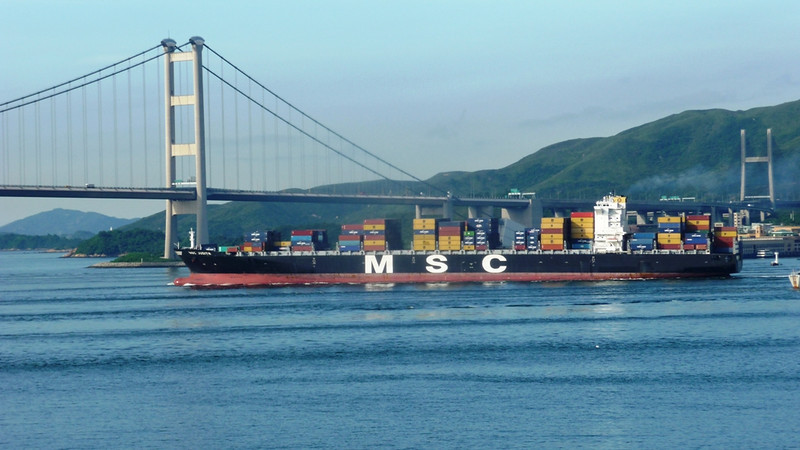 "Container vessel MSC Judith passing through the Me Wan Channel and about to pass under the Tsing Ma Bridge.which joins the islands of Tsing Yi and Ma Wan<br /> <br />  <a href=""http://en.wikipedia.org/wiki/Tsing_Ma_Bridge"">http://en.wikipedia.org/wiki/Tsing_Ma_Bridge</a><br /> <br /> On the right is one Tower of the Kap Shui Mun Bridge which joins Lantau Island to Me Wan Island<br /> <br />  <a href=""http://en.wikipedia.org/wiki/Kap_Shui_Mun_Bridge"">http://en.wikipedia.org/wiki/Kap_Shui_Mun_Bridge</a>"