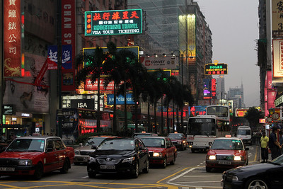 Neon signs and cars, Nathan Road, Hong Kong.