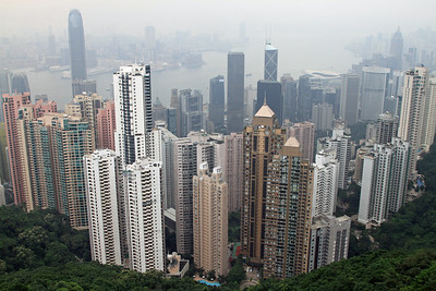 View from Victoria Peak over Hong Kong on a very hazy day.
