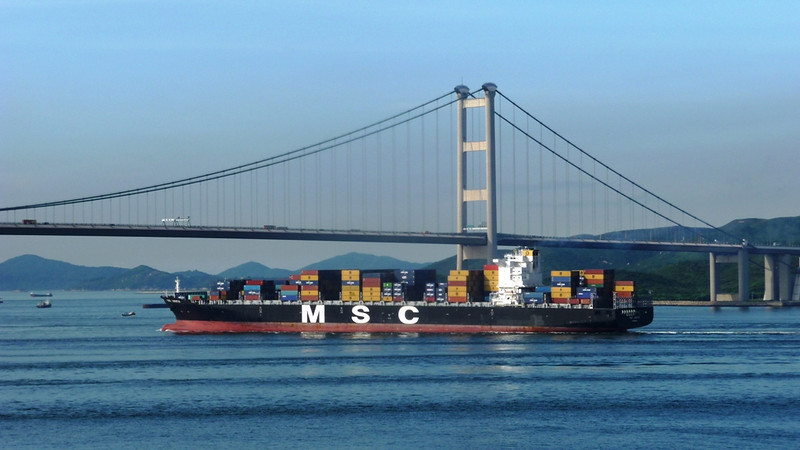 MSC Judith about to pass under under the Tsing Ma Bridge, part of the Lantau Link