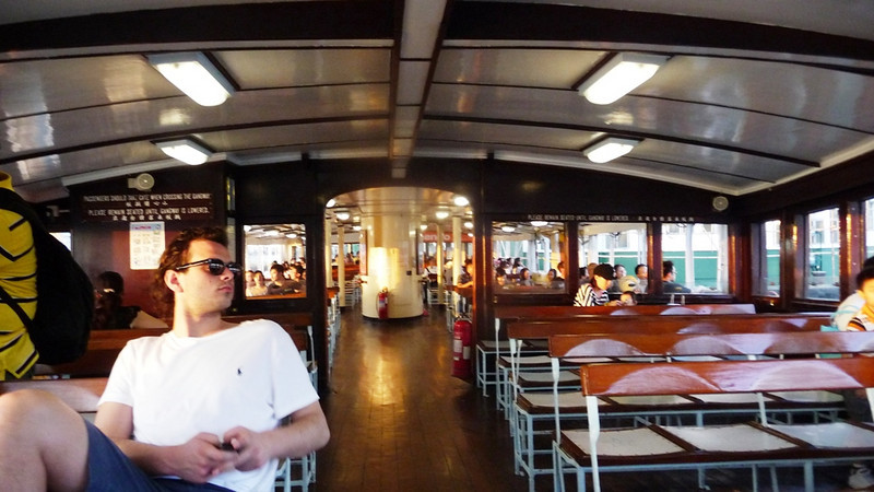 Star Ferries have two passenger decks - travel on the upper deck costs HK$3 (about 25 UK pence) The accommodation is wood panneled with formica decoration on seats, etc. The seat backs flip over so that one can alway face forward. The enclosed sections at each end of the upper deck is air conditioned. Windows pull down like those on old train carraiges