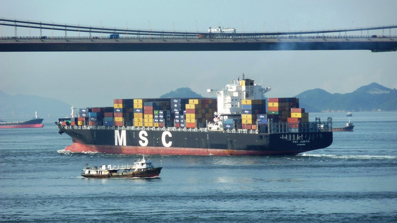MSC Judith passing under under the Tsing Ma Bridge, part of the Lantau Link