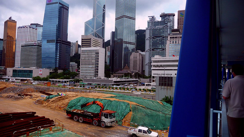 Massive development on reclaimed land in Central Hong Kong Island